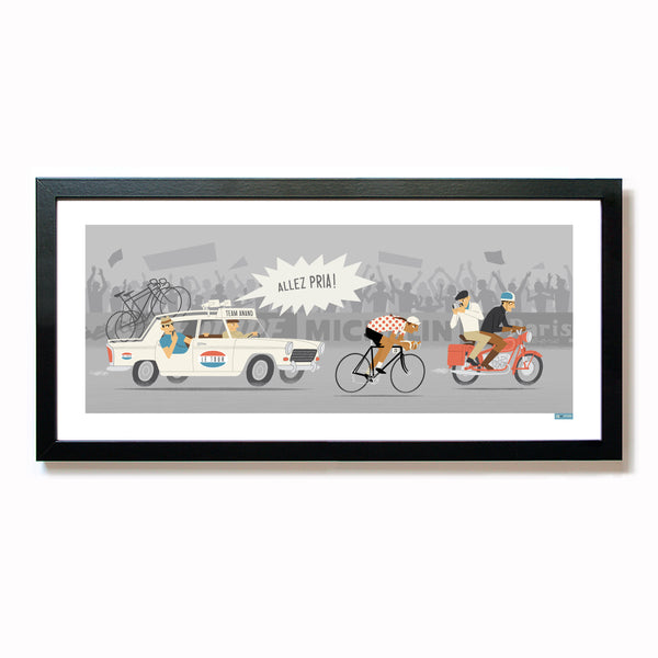 Personalised Female Cycling Print with tan skin tone option.