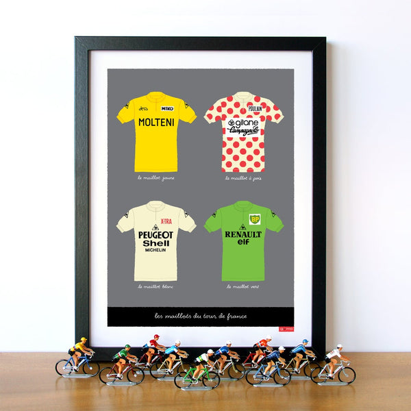 Cycling print featuring the four main jerseys of the Tour de France. Size: 30 x 40 cm