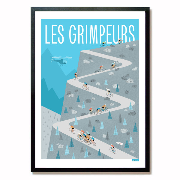 Cycling print featuring groups of riders climbing. Colour: Blue/Grey. Size: A2.