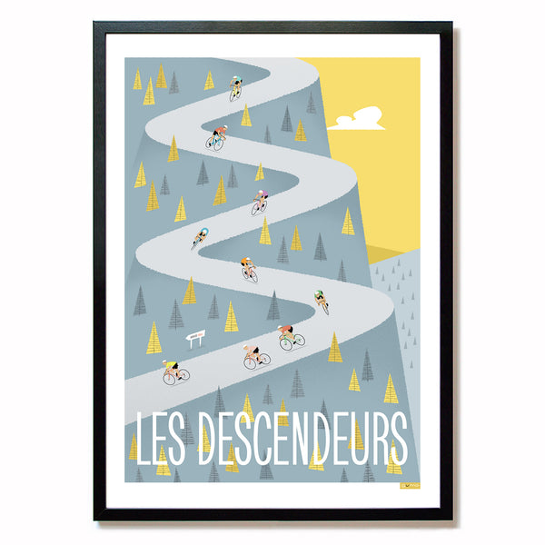 Framed cycling art: Descenders. 30 x 40cm.