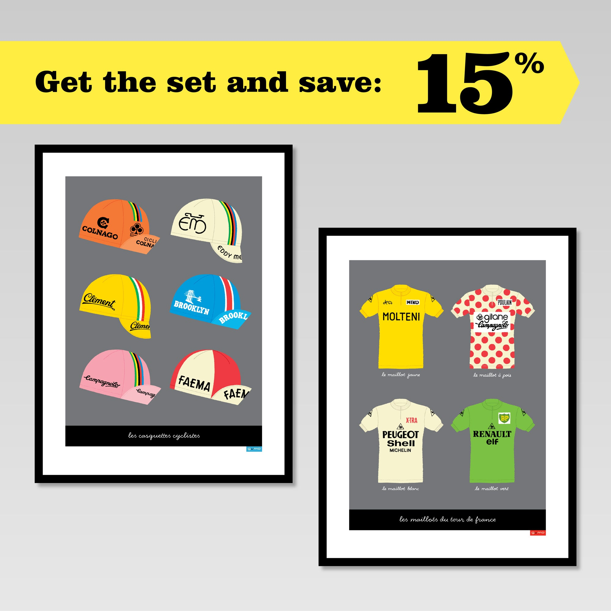 Cycling Caps and Tour Jerseys set of two posters in black frames, showing 15% discount offer for buying the set.