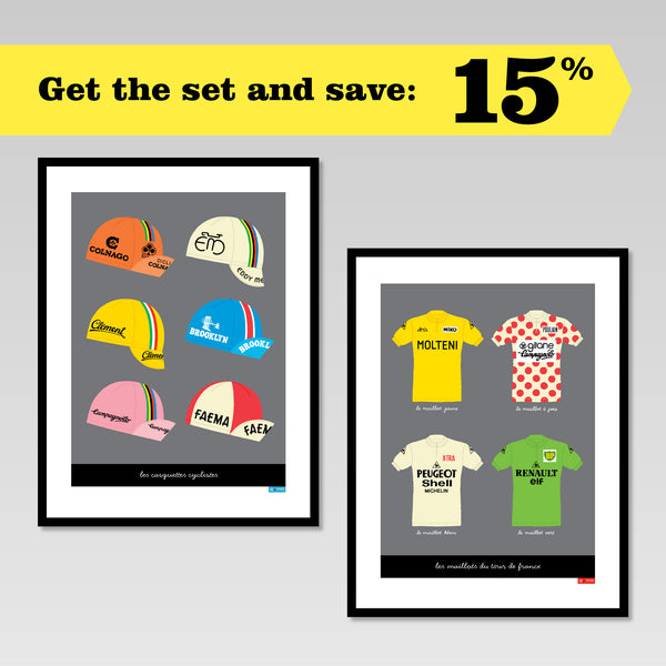 Set of two prints featuring retro cycling caps and jerseys. Buy the set & save 15%