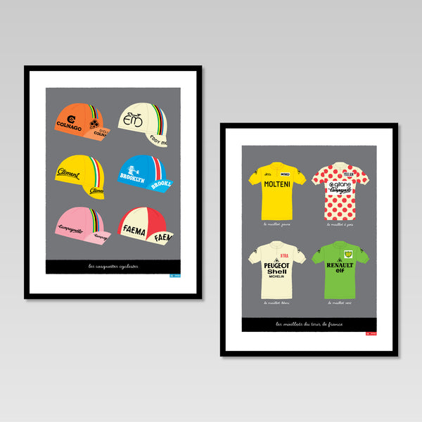 Set of two posters featuring vintage cycling caps and jerseys, dark grey background, size: 30 x 40 cm