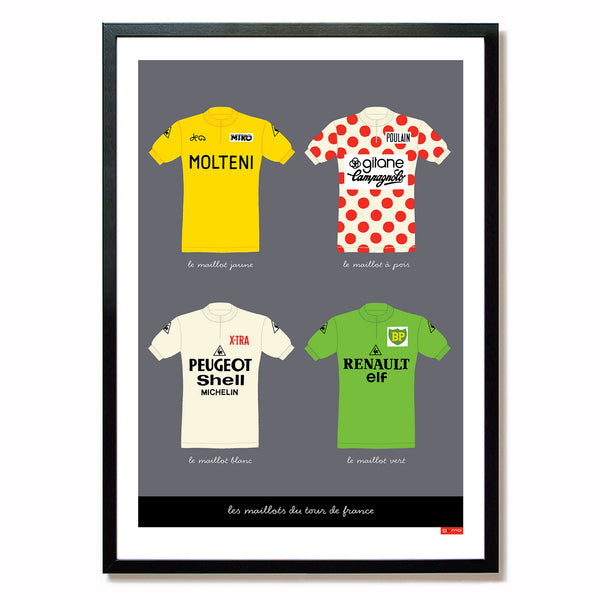 Poster featuring the four leaders jerseys of the Tour de France. Size: A2.