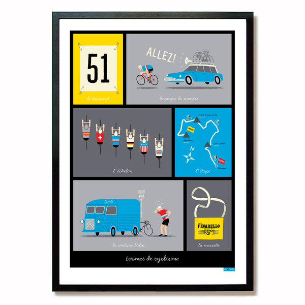 French Cycling Terms Poster, blue design in black frame, size: A2.