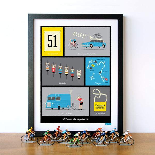 Framed cycle poster featuring typical French cycling terms, blue, 30 x 40 cm