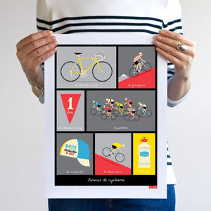 Hand-held, unframed cycling print, featuring typical French cycling phrases, red, size 30 x 40cm