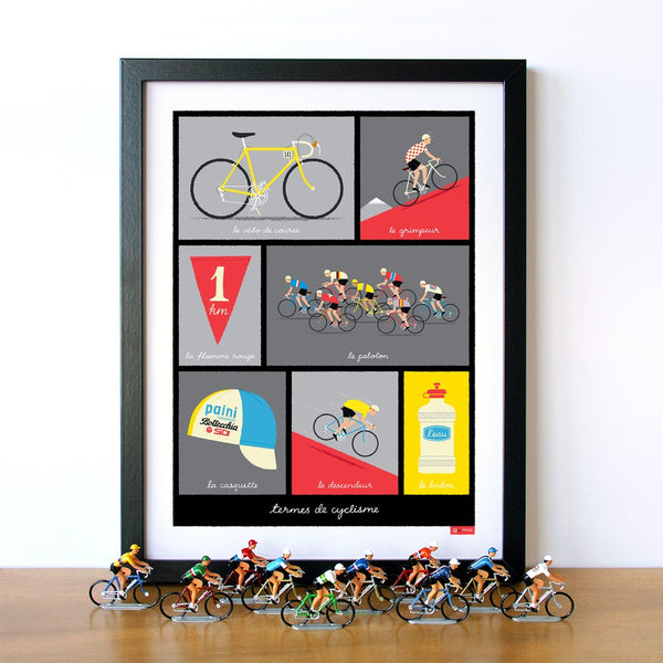 Framed cycling print, featuring typical French cycling terminology, red, 30 x 40 cm