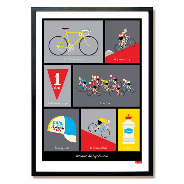 French Cycling Terms Poster, red design in black frame, size: A2.