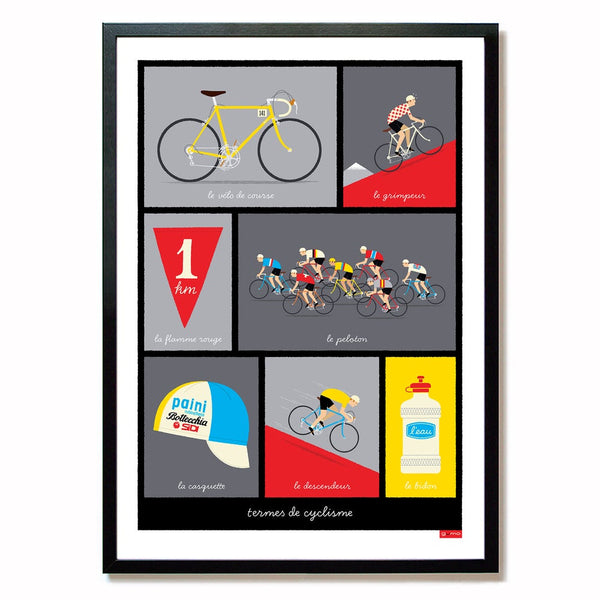 Cycling print featuring typical French cycling terminology, red, size A2.