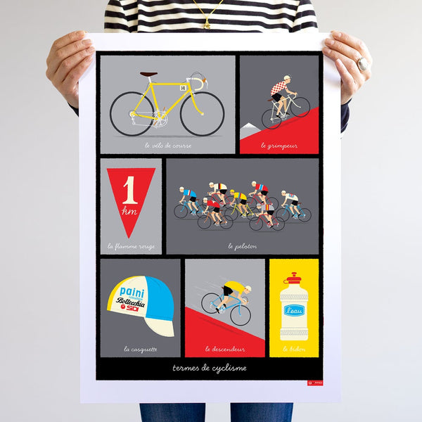 Unframed cycling poster, depicting typical French cycling phrases, red, size A2