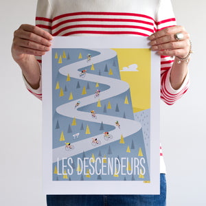 Descenders cycling print. 30 x 40cm.
