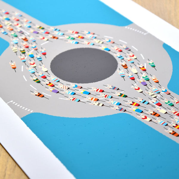 Detail of Peloton Roundabout cycling print. Mid century blue.
