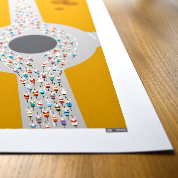 Detail of Peloton Roundabout cycling print. Mid century mustard. 23 x 50 cm.