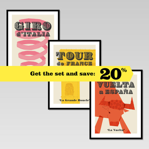 Cycling Grand Tours set of three prints. Tour de France, Giro d'Italia and Vuelta a Espana. Get the set & save 20%