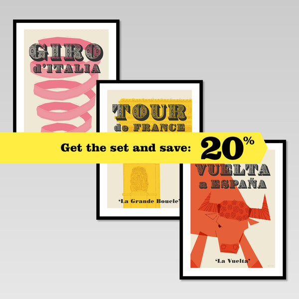 Cycling Grand Tours posters set of 3. Get the set and save 20%.