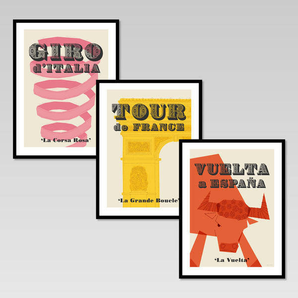 Cycling Grand Tours set of three prints. Tour de France, Giro d'Italia, Vuelta a Espana.