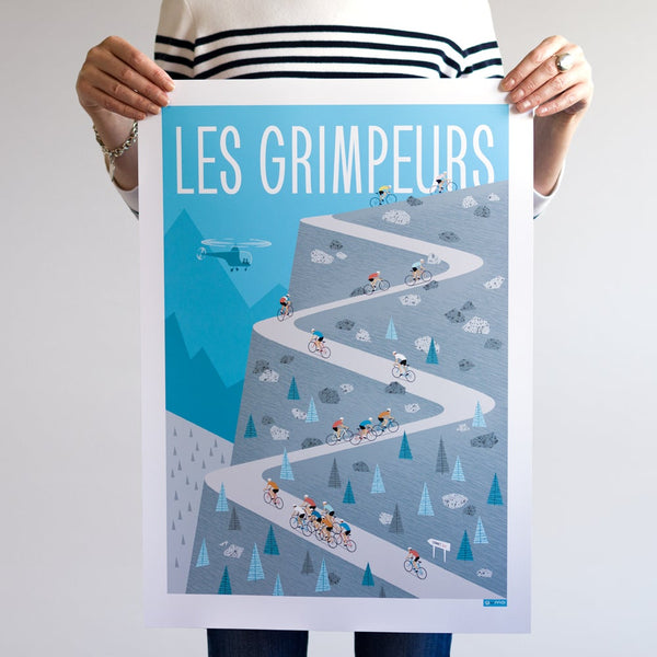 Cycling Poster featuring group of climbers 'Les Grimpeurs'. Colour: Blue. Size: A2.