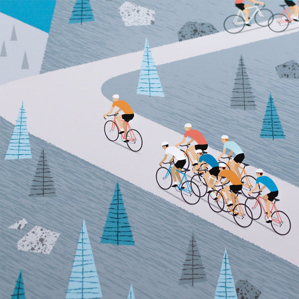 Detail of cycling poster featuring group of riders climbing gradient.