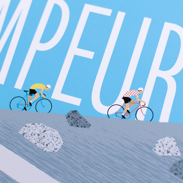 Detail from cycling print 'Les Grimpeurs'. Colour: Blue.