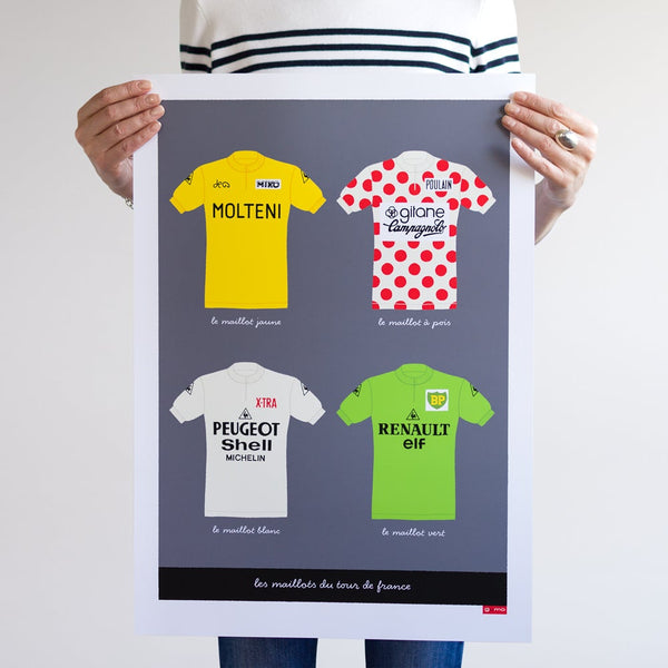 Poster featuring the four main cycling jerseys of the Tour de France. Size: A2.