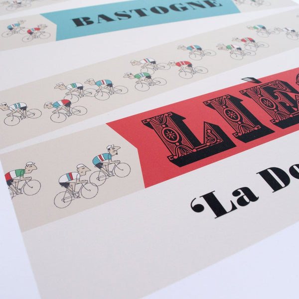 Close up detail of Liege Bastogne Liege cycling print, 30 x 40 cm size.