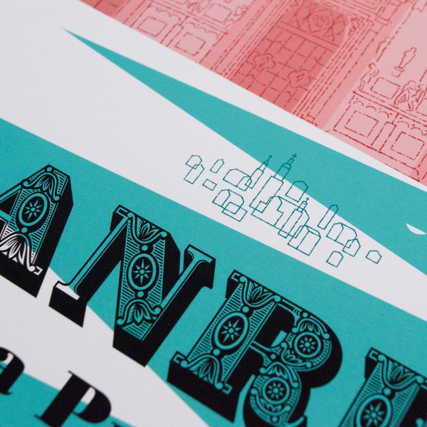 Close up detail of Milan-Sanremo cycling print, 30 x 40 cm size.