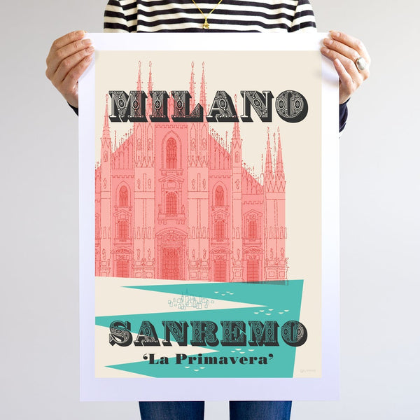Person holding unframed Milan-Sanremo cycling print, A2 size.