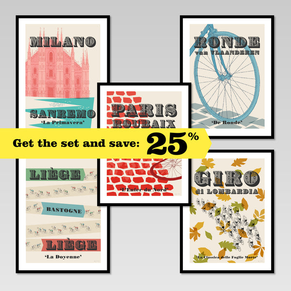 Cycling Monuments set of five posters in black frames, showing 25% discount offer for buying the set.