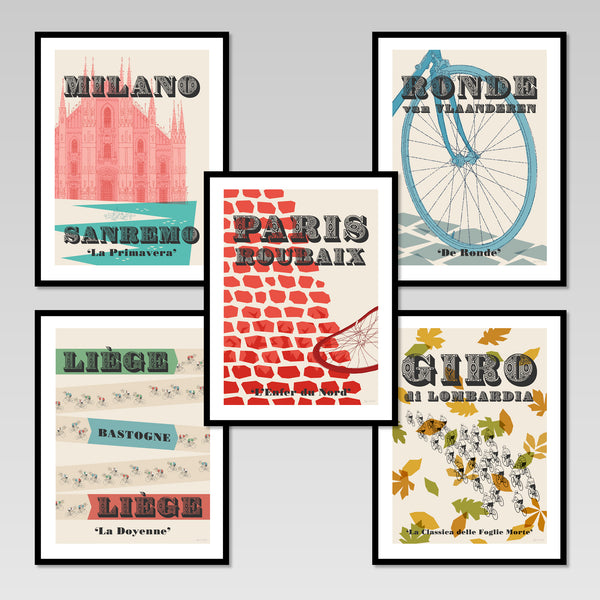 Cycling Monuments set of five posters in black frames.