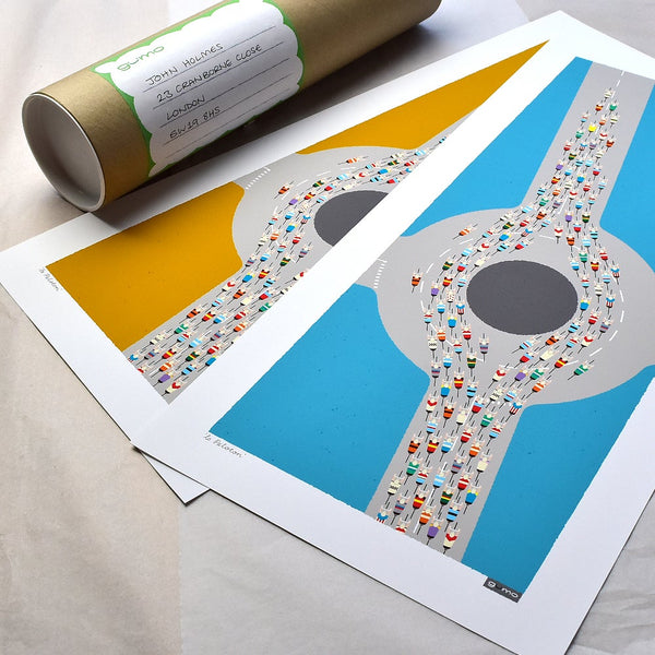 Peloton Roundabout cycling prints. Mid century blue and mustard versions, with packaging.
