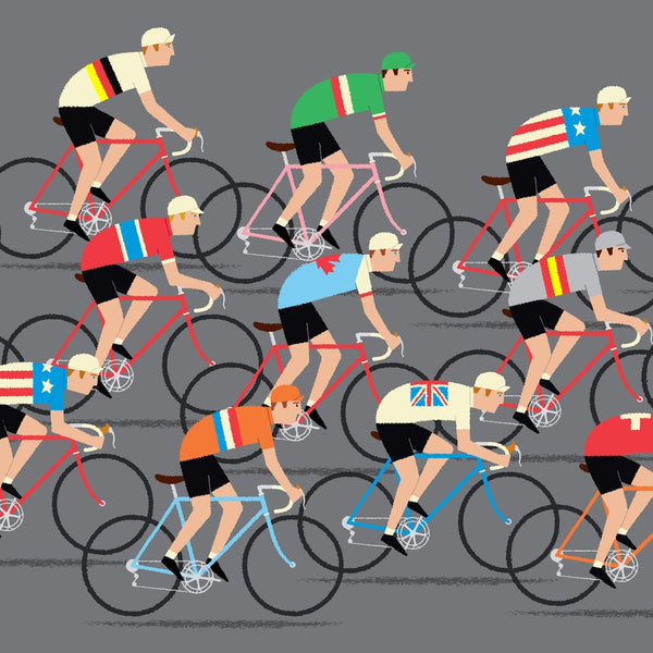 Detail of cycling poster featuring peloton of riders.