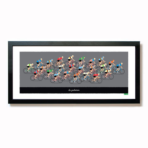 Cycling poster featuring group of riders in national team jerseys. Size: 50 cm x 23 cm