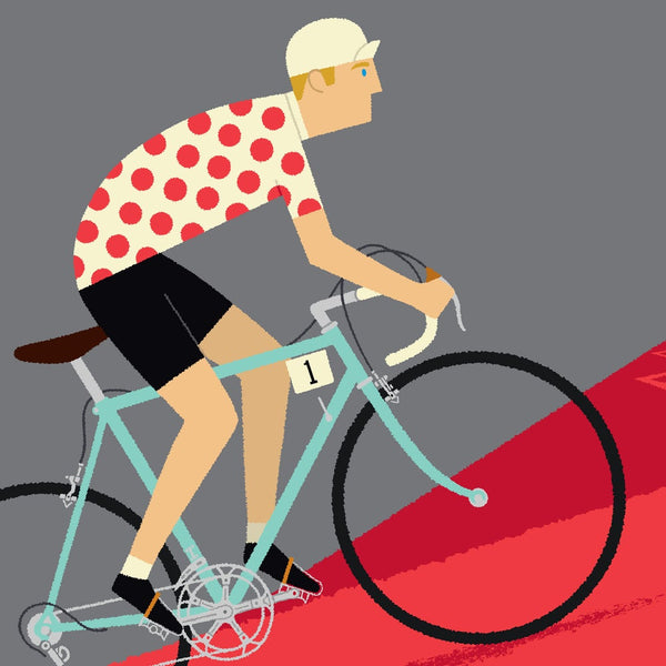 Detail of King of the Mountains personalised cycling print