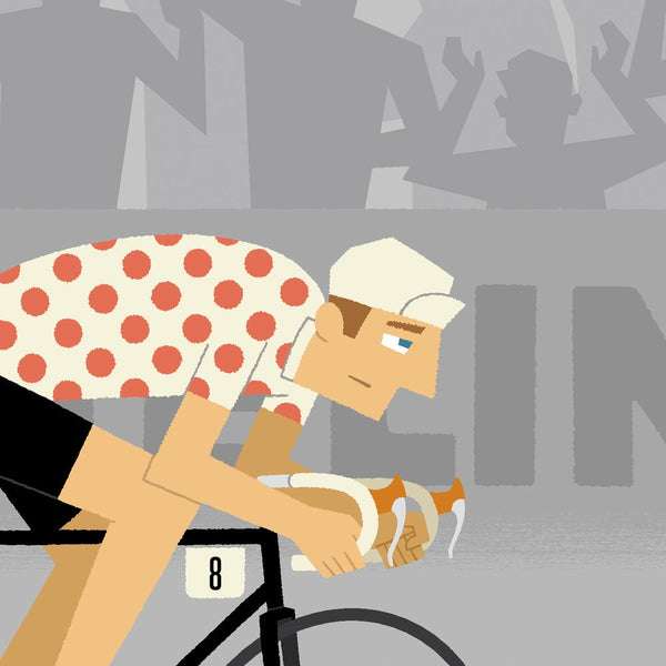 Detail from 'Allez!' time trial cycling print showing rider wearing polka dot jersey.