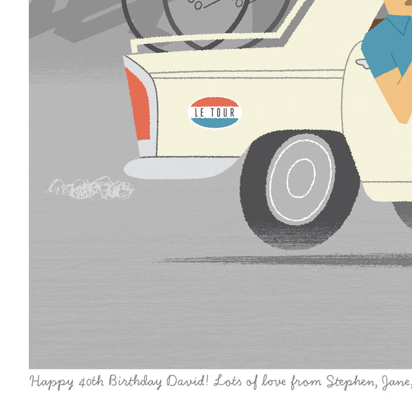 Detail from 'Allez!' time trial cycling print showing personalised message.