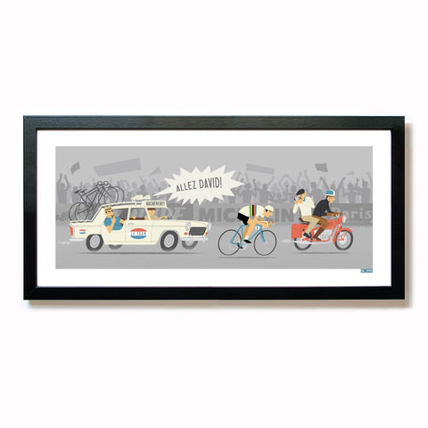 Framed 'Allez!' time trial cycling print, rainbow jersey option. 50 x 23 cm.