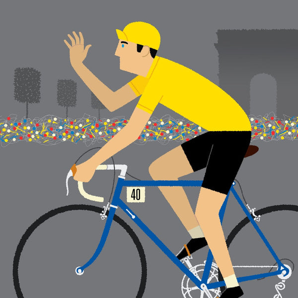 Detail of Yellow Jersey personalised cycling poster, with dark blue bike.