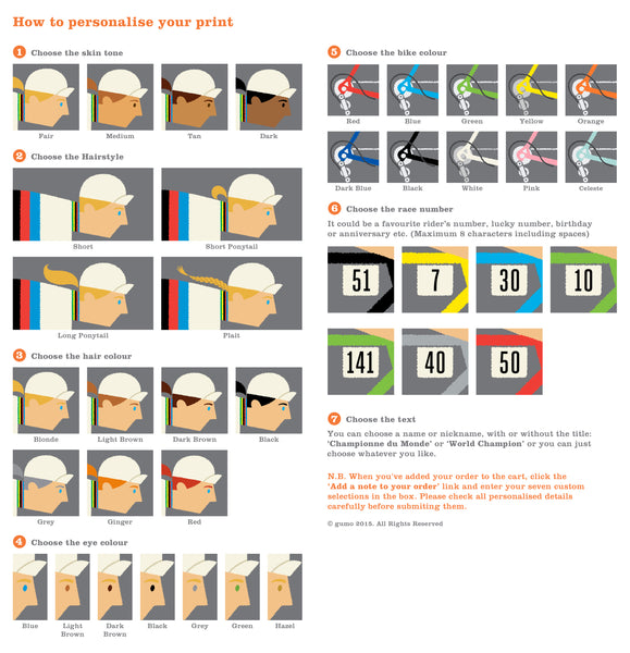 Instructions for ordering female rainbow jersey personalised art print.