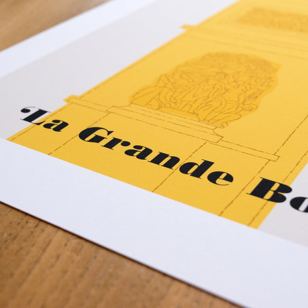 Tour de France poster detail, 'La Grande Boucle' text, 30 x 40 cm.