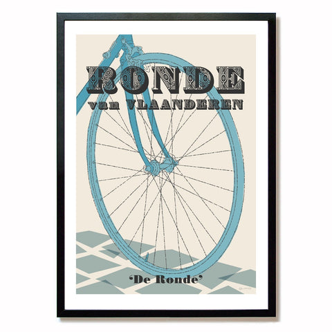 Tour of Flanders cycling print in black frame, A2 size.