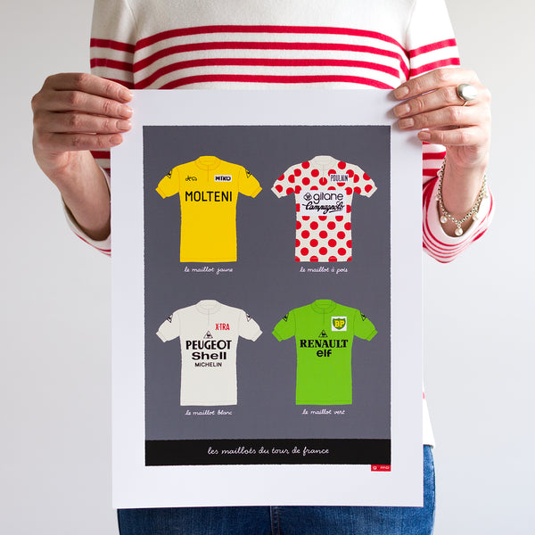 Person holding unframed Tour de France cycling jerseys print, size: 30 x 40 cm.
