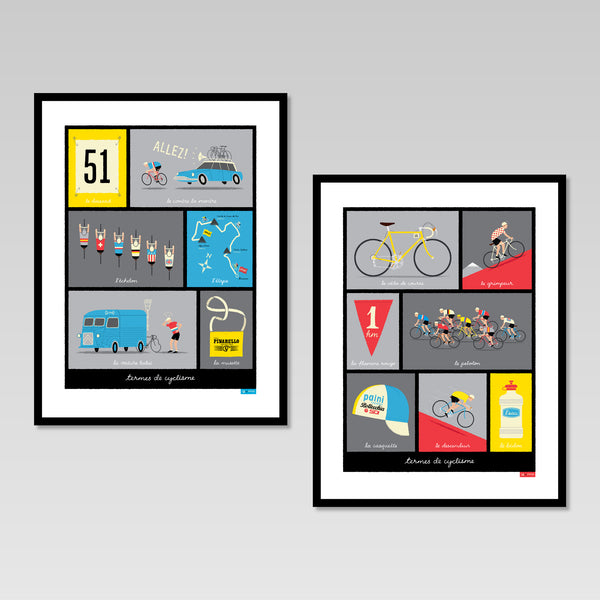 French Cycling Terms set of two posters in black frames.