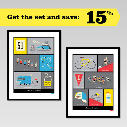 French Cycling Terms set of two posters in black frames, showing 15% discount offer for buying the set.