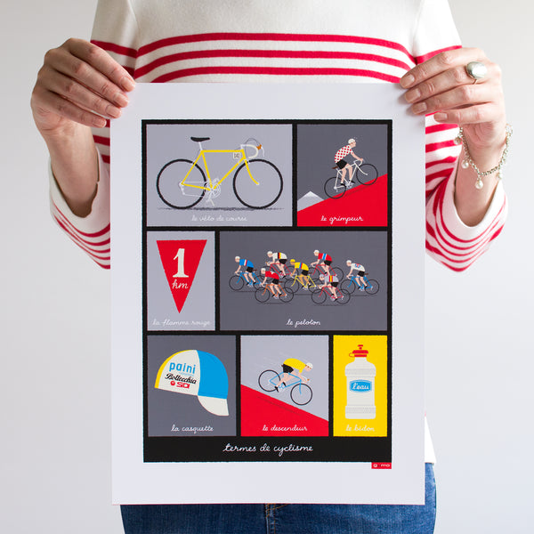 Person holding French Cycling Terms Poster, red design ,unframed, size: 30 x 40 cm.