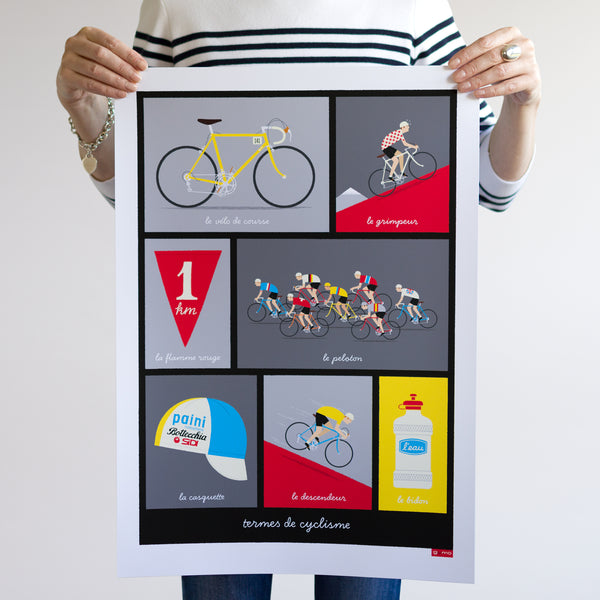 Person holding French Cycling Terms Poster, red design ,unframed, size: A2.