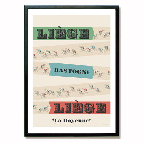 Liege Bastogne Liege cycling print in black frame, A2 size.