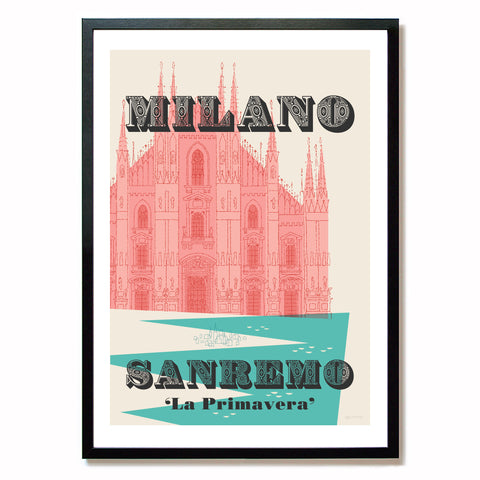 Milan-Sanremo cycling print in black frame, size: A2.
