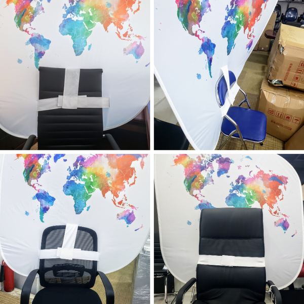 How Office AnyChair Portable Backdrops Fit onto Chair Backs
