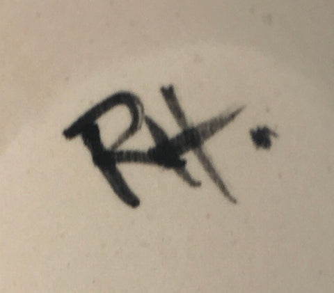 Roseanne's initials signed on the base of each Wemyss Ware piece she has painted